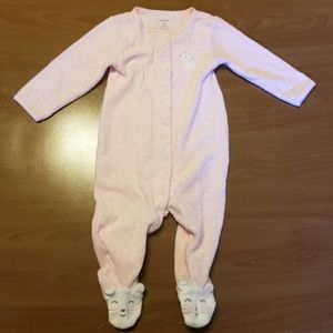 Carter's White Mouse Footed Snap Pajamas 9m